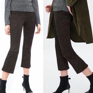 Zara | Zebra Cropped Kick Flare Brown Tiger Pants